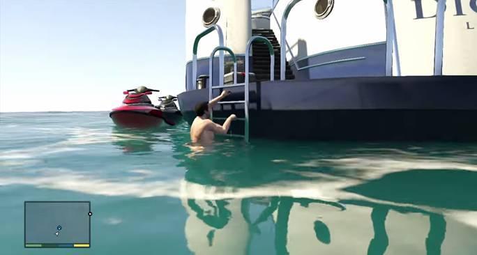 Джимми указывает отцу на яхту, находящуюся не далеко от берега