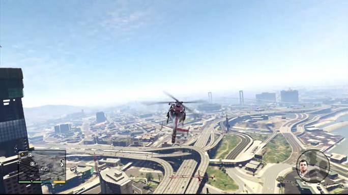 Прибыв к месту назначения, зависаем над крышей здания, куда должен попасть Майкл