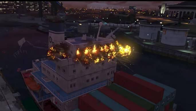 Когда Майкл установит взрывные устройства, ему нужно прыгнуть за борт