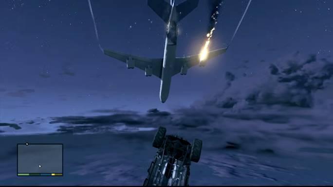 Покидаем самолет, сидя в джипе, затем покидаем джип